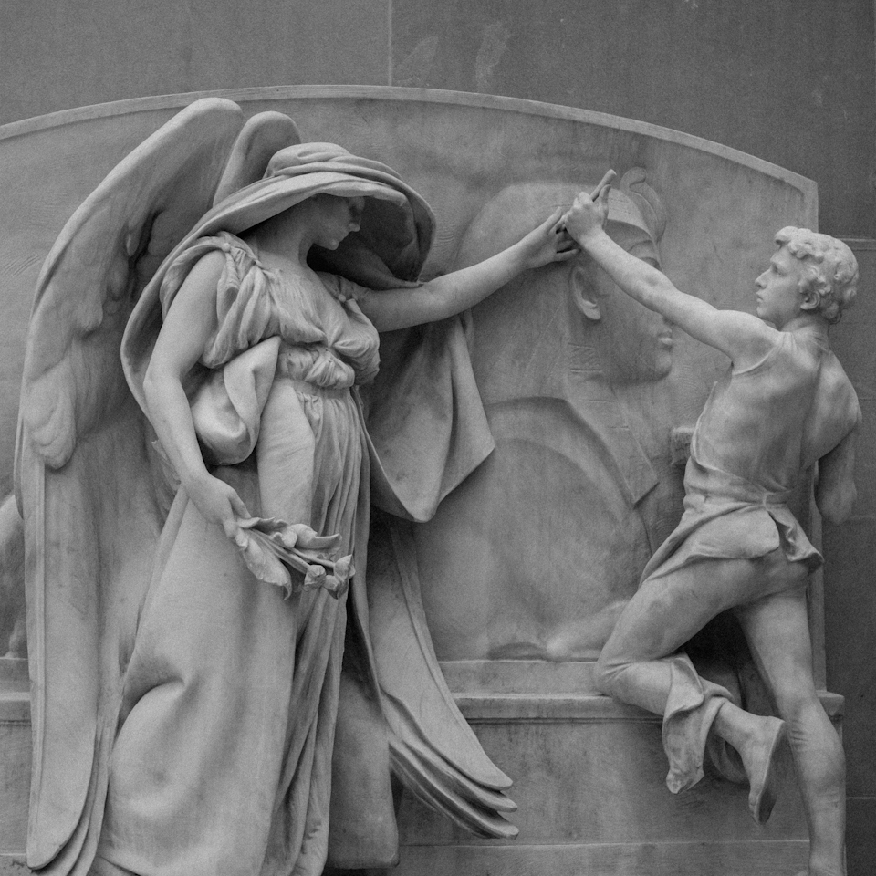 The Angel of Death and the Sculptor, carved by Daniel Chester French between 1921-1926.